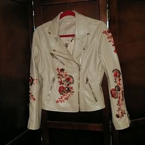 Blank NYC Embroidered Faux Leather Moto-Jacket